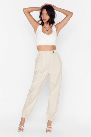 Ecru Make Room High-Waisted Denim Pants