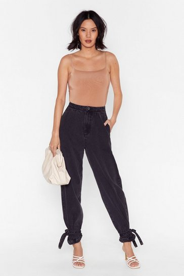 Black Cuff Luck Tie Hem Balloon Jeans