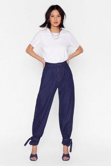 Indigo High-Waisted Balloon Jeans with Ankles Tie Closure