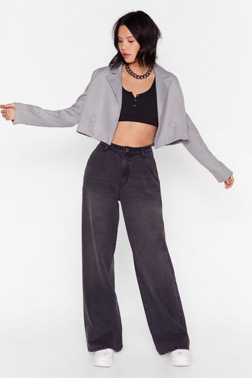 Dark grey Dru Oversized Wide-Leg Rip Jeans
