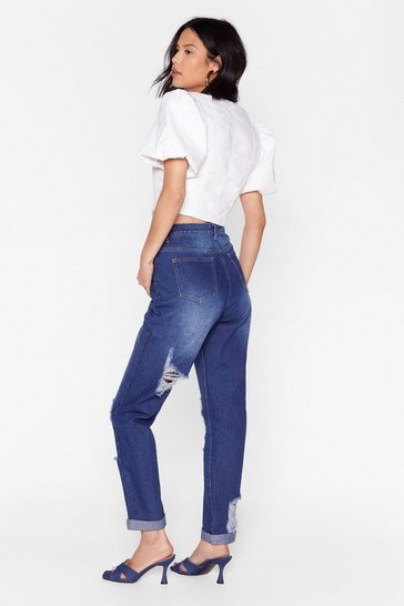 Mid blue Knee'd Space Distressed Straight Leg Jeans