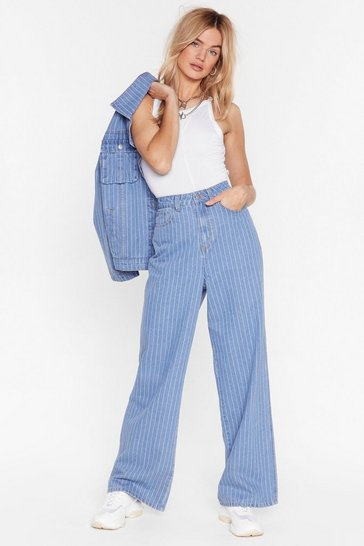 Light blue Dru Oversized Wide-Leg Pinstripe Jeans