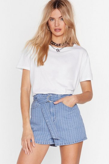 Light blue Stripe Up My Life Denim Belted Shorts