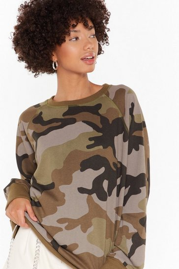 Green Nowhere to Be Seen Camo Sweatshirt