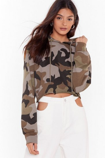 Womens Green Can I See You Camouflage Cropped Hoodie