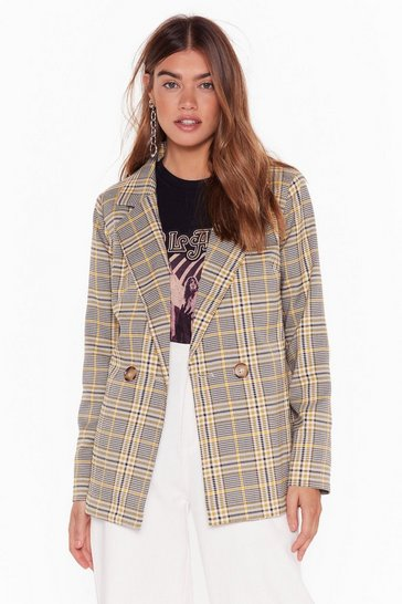 Yellow Pick Up the Check Double Breasted Blazer