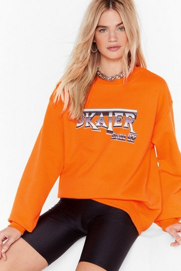 Womens Orange CYA Later Boy Oversized Graphic Sweatshirt
