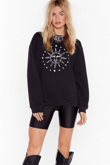 Black Here Come the Sun Graphic Sweatshirt