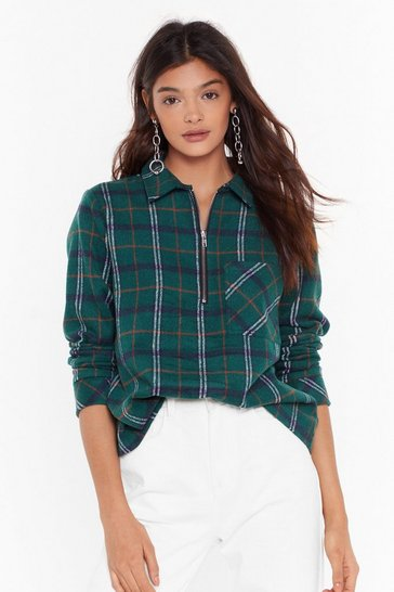Womens Green Check This Out Zip Top