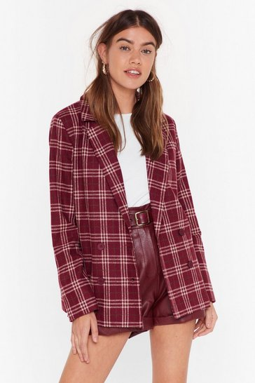 Womens Burgundy Let's Keep This Short Check Blazer