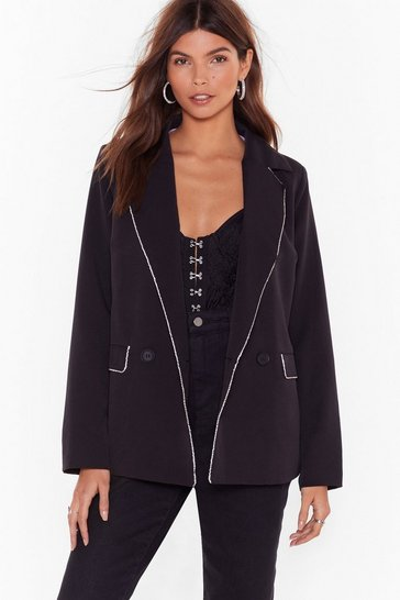 Black None of Your Business Diamante Trim Blazer