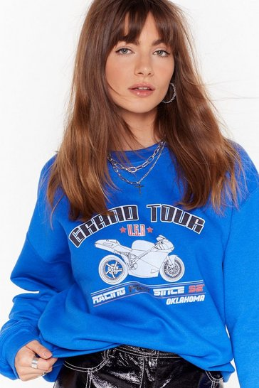Womens Cobalt Give Us the Grand Tour Graphic Sweatshirt