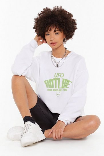Womens White UFO Hotline Graphic Sweatshirt