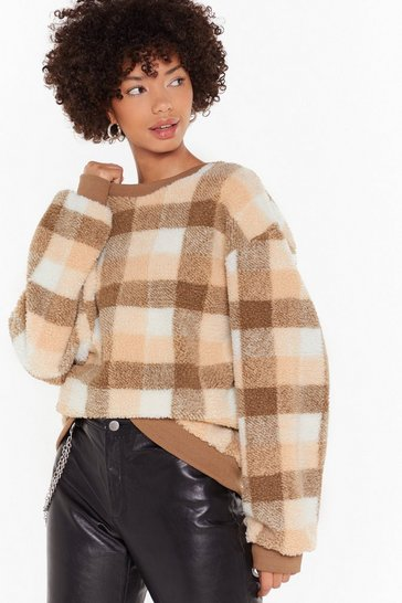 Womens Brown See What We Grid There Check Teddy Sweatshirt
