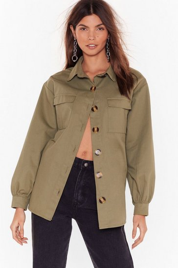 Womens Khaki If I Had a Collar Relaxed Utility Shirt