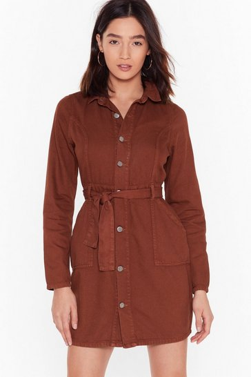 Rust Never Belt So Good Denim Utility Dress