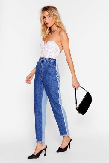 Blue Two Tone Distressed Mom Jeans