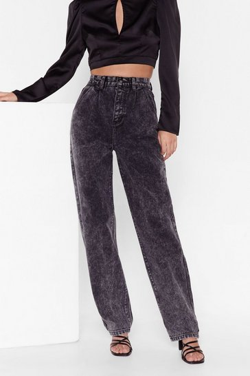 Black Wide-Leg Acid Wash Denim Jeans