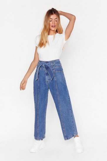Wash blue Tie Waist Cropped Wide Leg Jeans