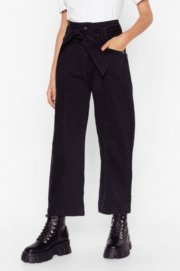Washed black Tie Me Cropped Wide-Leg Jeans