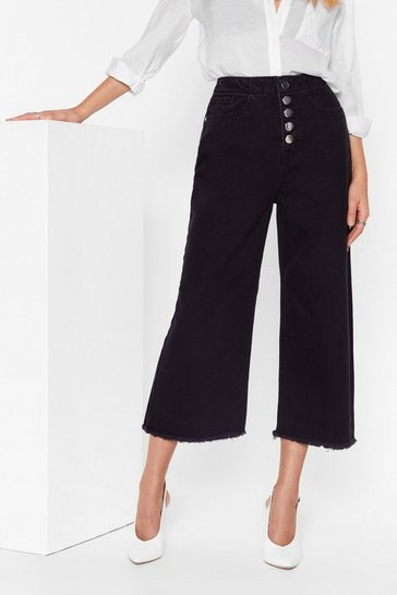 Black High-Waisted and Wide-Leg Denim Culottes