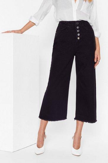 Black High-Waisted and Wide-Leg Denim Culottes