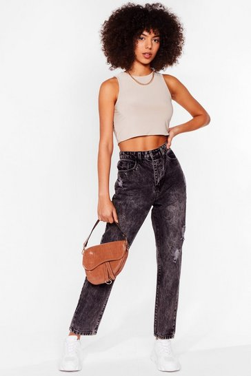 Grey High-Waisted Distressed Mom Jeans in Acid Wash Finish
