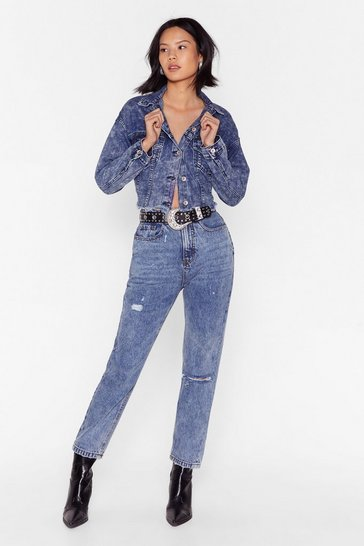 Mid blue No Need to Distress Acid Wash Mom Jeans