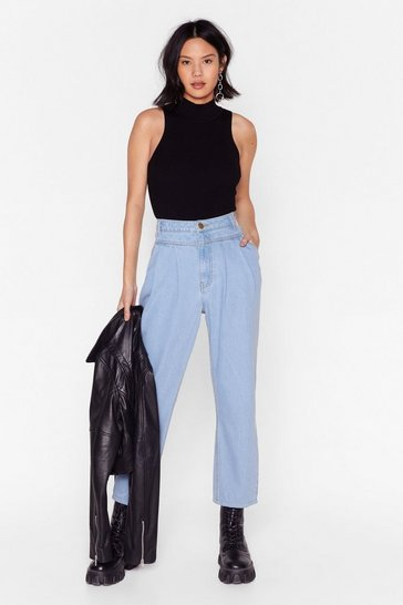 Wash blue Hem High-Waisted Mom Jeans with Dart Detailing