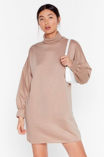 Womens Sand Turtleneck and Call Mini Sweatshirt Dress