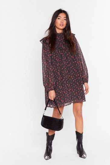 Womens Black Smock to the System Floral Mini Dress