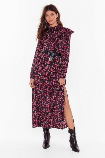 Black Floral We Grow High Neck Maxi Dress