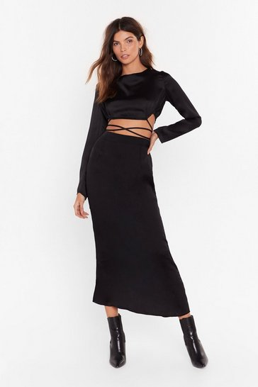 Womens Black  Hope You're Strappy Satin Maxi Dress