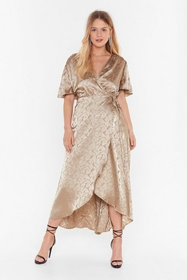 Champagne Leaf Me Money Plus Wrap Dress
