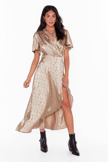 Womens Champagne Leaf Me Money Midi Wrap Dress
