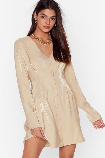 Champagne It Wasn't Meant to Satin Button-Down Mini Dress