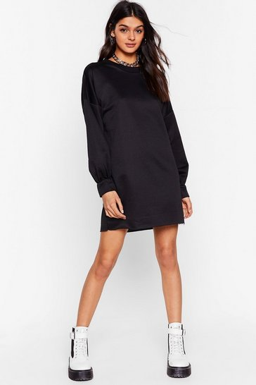 Black Bored of This Mini Sweatshirt Dress