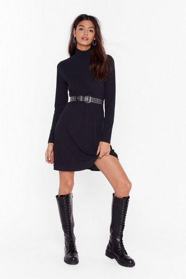 Black High Neck Mini Dress with Ribbed Knit