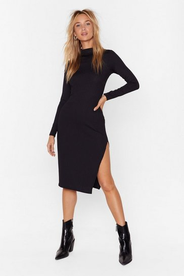 Black High Neck Ribbed Midi Dress with Slit at Side