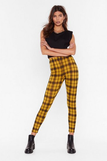 Mustard Grid Me a Call Check High-Waisted Leggings
