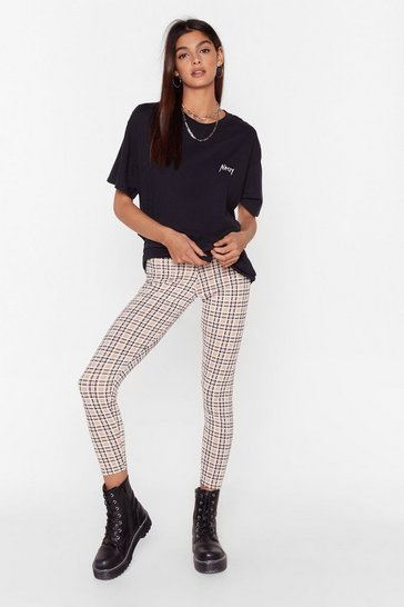 Camel High-Waisted Check Leggings in Bodycon Silhouette