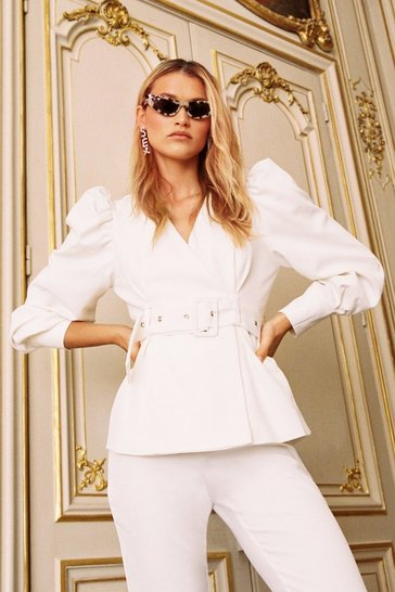 White The Way You Work It Puff Sleeve Belted Blazer