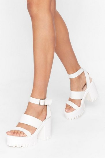 White Strap Back to Reality Faux Leather Platform Heels