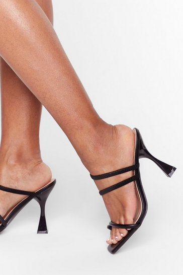 Black Square toe louis heel strappy mules