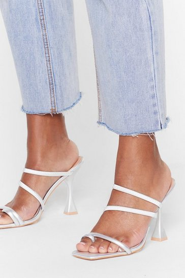 Silver Square toe louis heel strappy mules