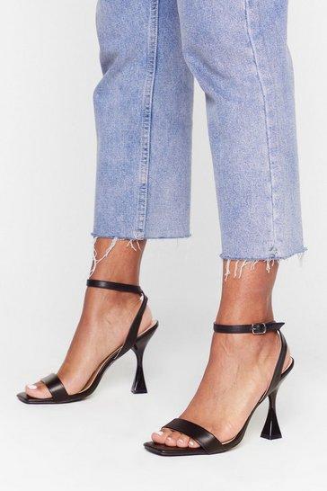 Black Square toe louis heel 2 part heels