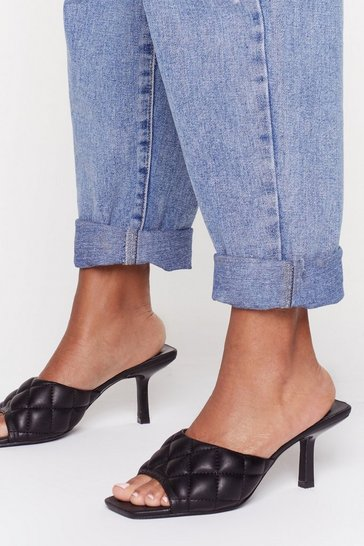 Black Faux Leather Quilted Kitten Heel Mules