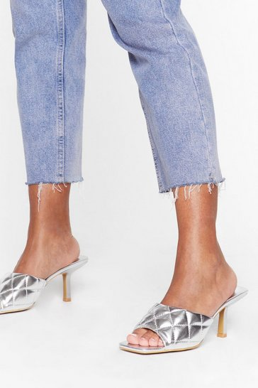 Silver Shake Quilt Up Faux Leather Kitten Heel Mules