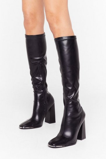 Black Knee'd You Now Faux Leather Knee-High Boots