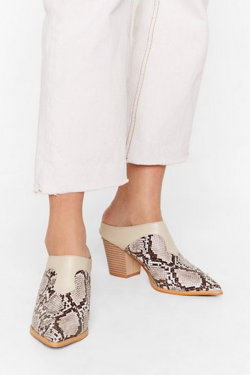 Beige Whatever It Snakes Faux Leather Heeled Mules